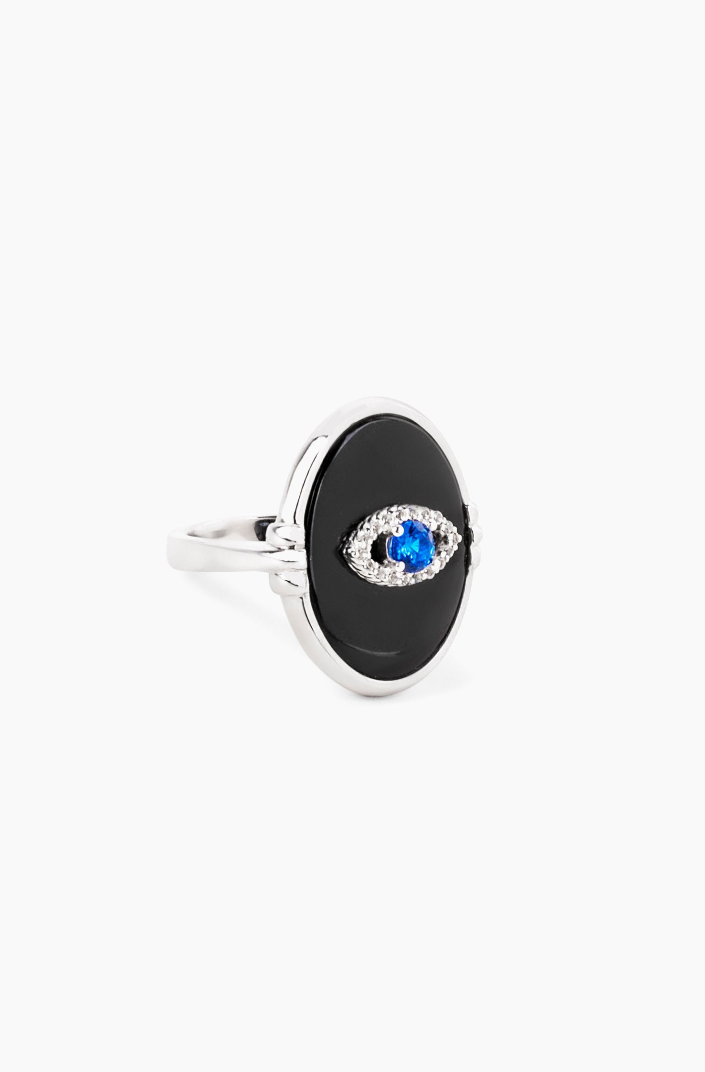Black Agate Eye Ring