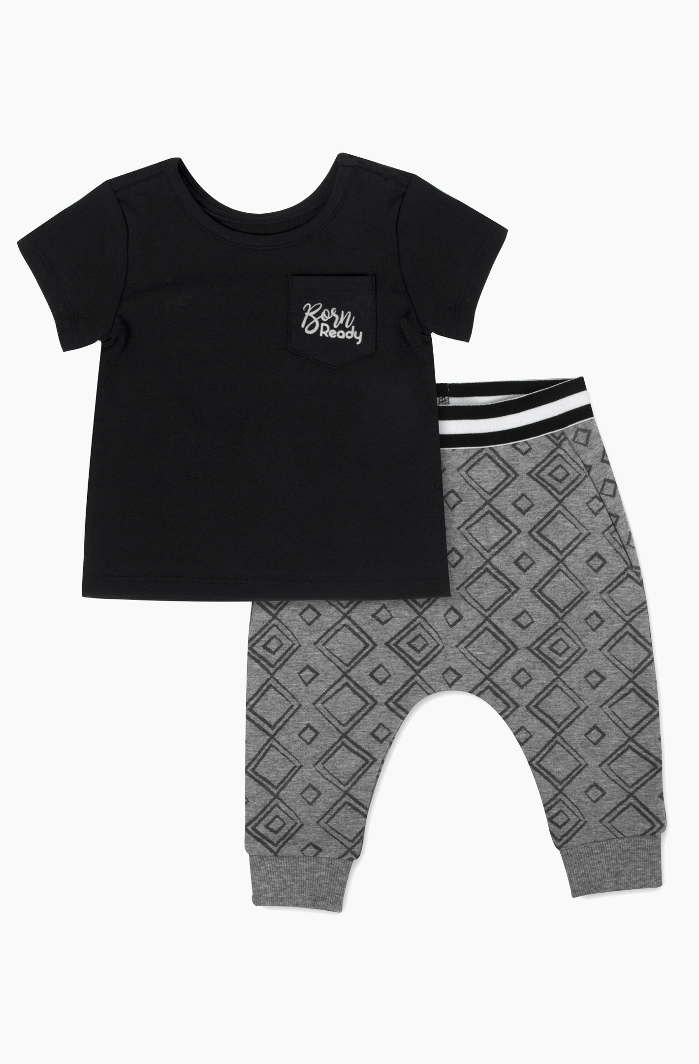 Geometric Print Pants with Born Ready Tee Set