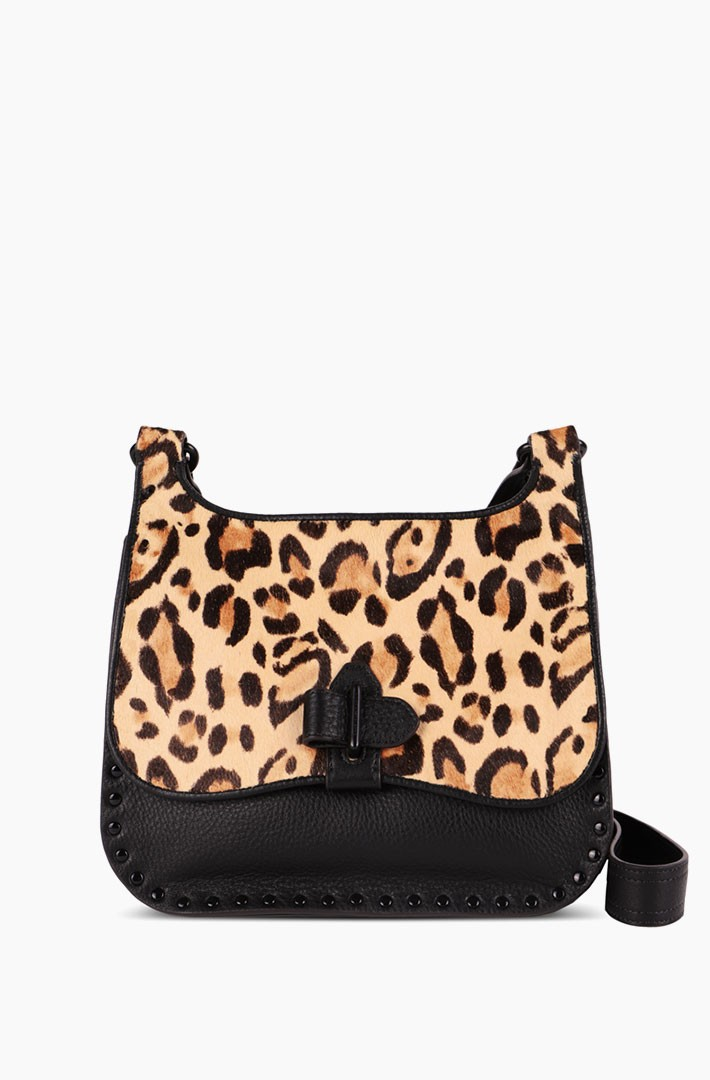 Happy Hour Convertible Shoulder Bag, Jungle Leopard Haircalf