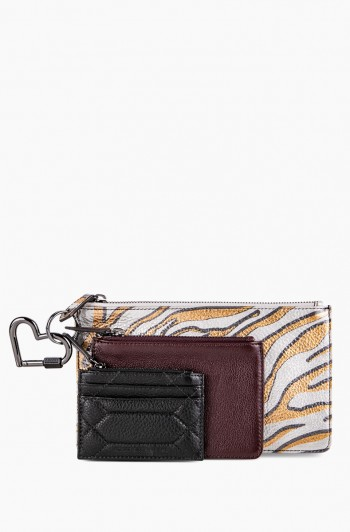3 Piece Pouch Set, Metallic Zebra