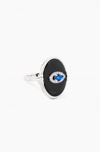 Black Agate Eye Ring, Silver
