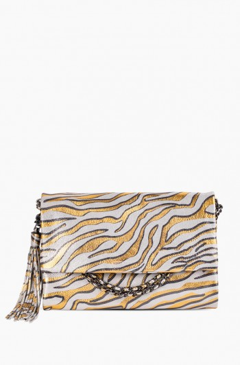 Bali Convertible Clutch, Metallic Zebra