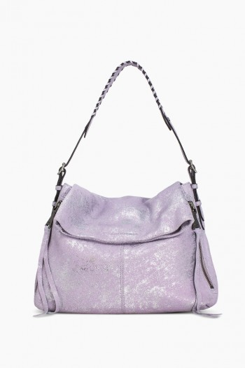 Bali Hobo, Soft Lavender Distressed Denim