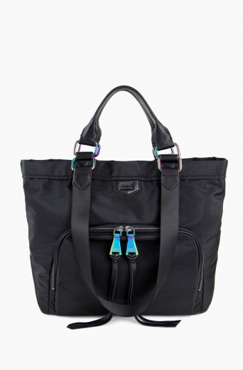 Nylon Bermuda Tote, Black with Iridescent