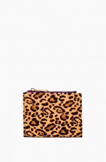 Dusk Till Dawn Bifold Wallet, Small Leopard Haircalf