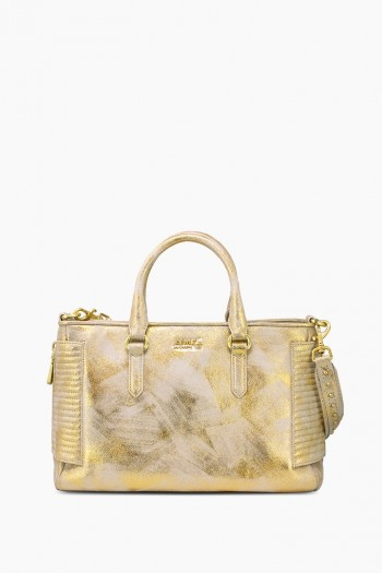Biker Babe Satchel, Gold Brushed Metallic