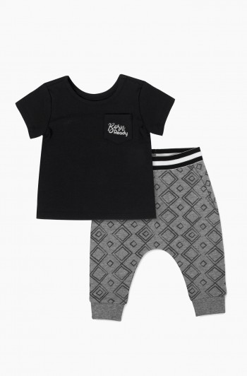 Geometric Print Pants with Born Ready Tee Set, Newborn