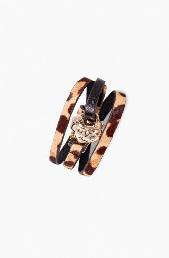 It's a love thing leather wrap bracelet, Jungle Leopard Haircalf