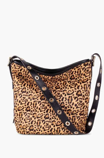 Buckle Up Bucket Hobo, Small Leopard Haircalf