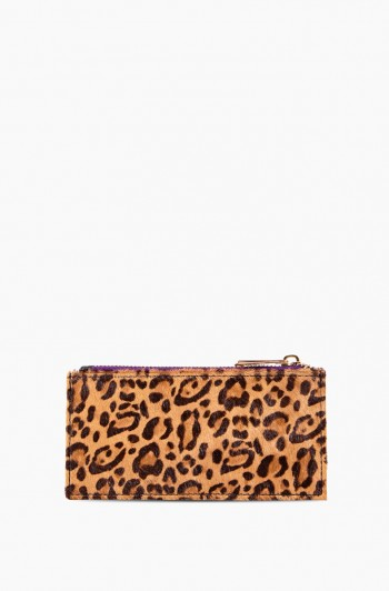 Dusk Till Dawn Slim Zipper Wallet, Small Leopard Haircalf