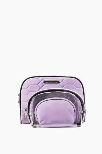 Chelsea 3-Piece Cosmetics Set, Soft Lavender Diamond Quilt