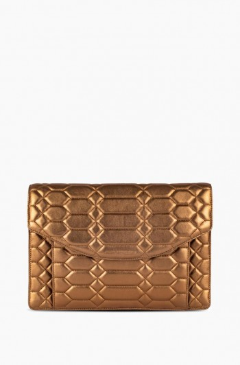Dusk Till Dawn Clutch, Metallic Bronze