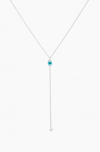Eye Drop Star Necklace, Silver