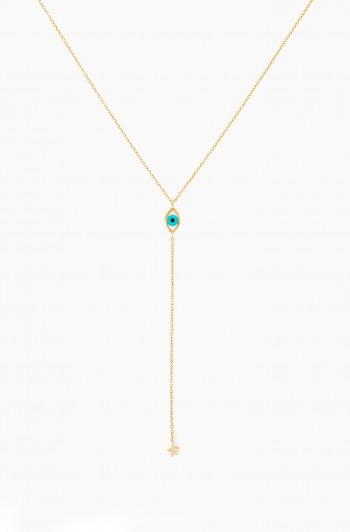 Eye Drop Star Necklace, Gold