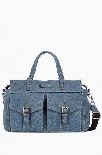 Feel the Energy Satchel, Dark Denim w/ Distressed Silver