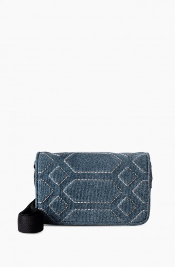 Game On Mini Crossbody, Dark Denim Leather