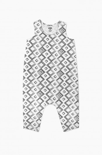 Geometric Print Coveralls, Newborn