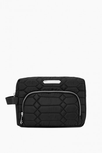 Isabela Large Cosmetics Case, Black Diamond Quilt w/ Silver