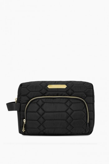 Isabela Large Cosmetics Case, Black Diamond Python Quilt w/ Gold