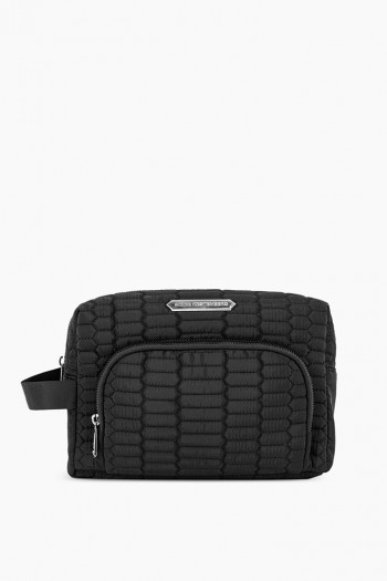 Isabela Large Cosmetics Case, Black Python Quilt w/ Silver