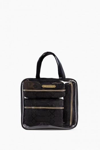 Ivy 4-Piece Cosmetics Set, Black Diamond Python Quilt w/ Gold