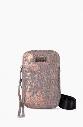 Just Saying Stadium Crossbody, Rose Gold Distressed Denim