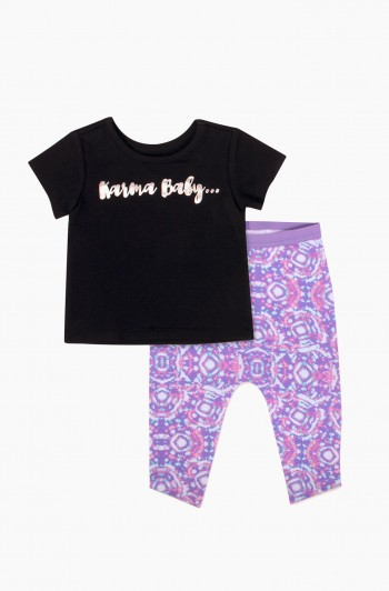 Kaleidoscope Printed Pants with Karma Baby Tee, Newborn