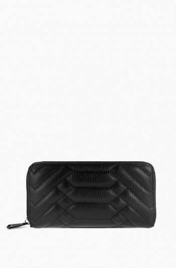 Scene Stealer Large Zip Around Wallet, Black