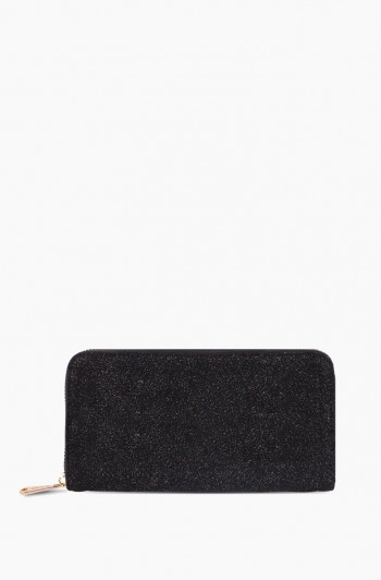 Scene Stealer Large Zip Around Wallet, Glitter Suede