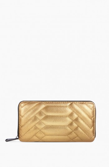 Scene Stealer Large Zip Around Wallet, Liquid Gold