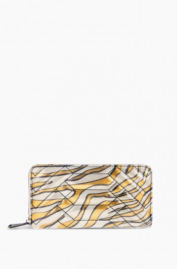 Scene Stealer Large Zip Around Wallet, Metallic Zebra