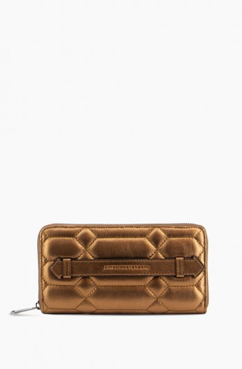 Dusk Till Dawn Large Zip Around Wallet, Metallic Bronze