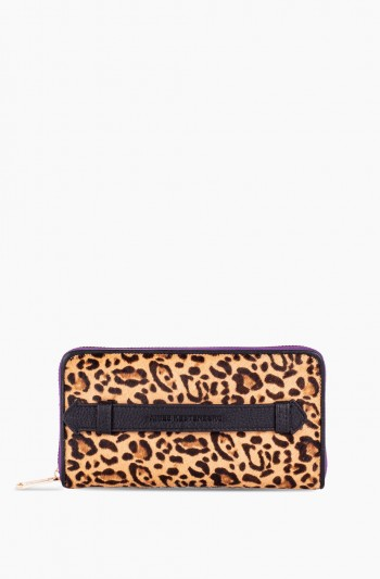 Dusk Till Dawn Large Zip Around Wallet, Small Leopard Haircalf