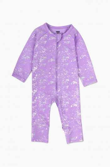 Coverall with Silver Splatter Print, Newborn