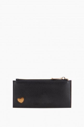 Love Club Slim Zipper Wallet, Black w/ Metallic Bronze Heart