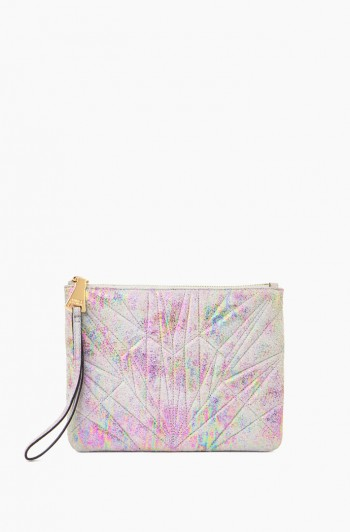 It's a Love Thing Quilted Zip Clutch, Sunrise Metallic