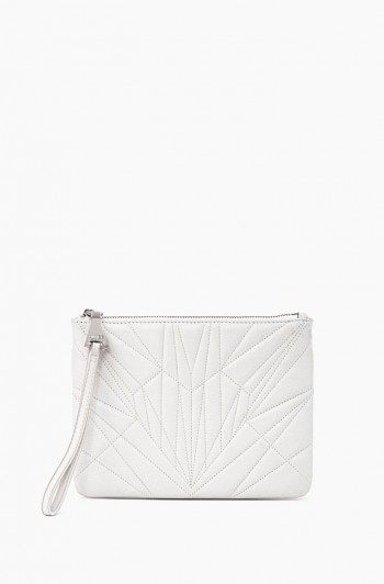 It's a Love Thing Quilted Zip Clutch, Vanilla