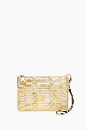 Magnolia Clutch, Gold Brushed Metallic