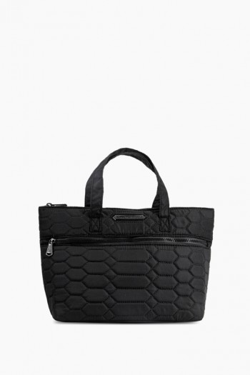 Mara Satchel, Black Diamond Quilt w/ Black