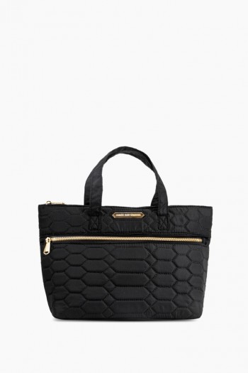 Mara Satchel, Black Diamond Quilt w/ Gold