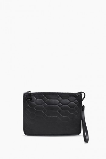 Mariah Clutch, Black Signature Embossed