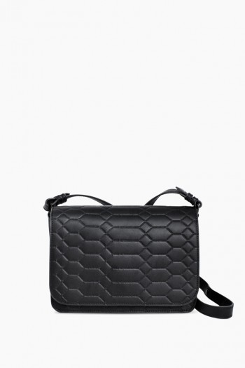 Mariah Crossbody, Black Signature Embossed