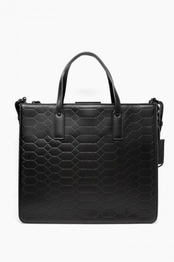 Mariah Triple Entry Tote, Black Signature Embossed
