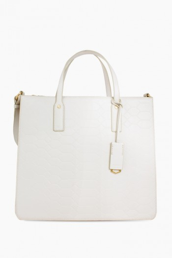 Mariah Triple Entry Tote, White Signature Embossed