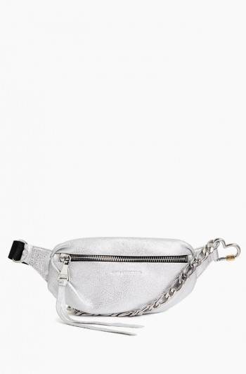 Heart Chain Bum Bag, Metallic Silver