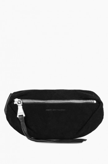 Milan Bum Bag, Black Suede