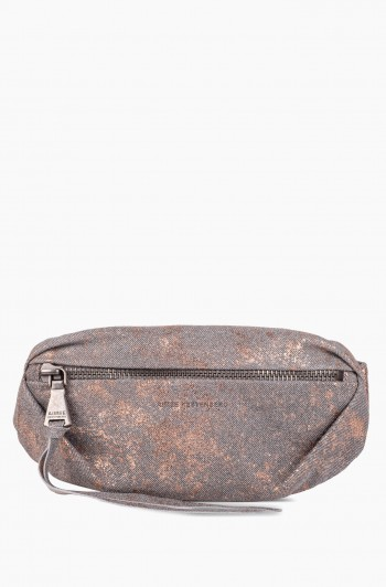 Milan Bum Bag, Rose Gold Distressed Denim