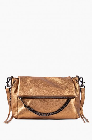 No B.S. Double Entry Crossbody, Metallic Bronze