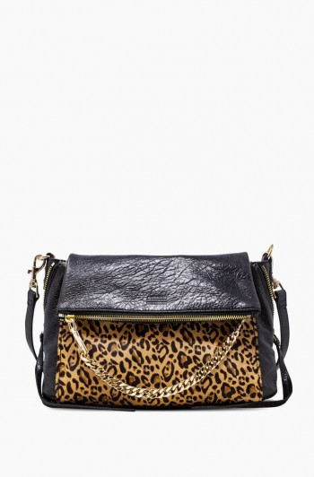No B.S. Double Entry Crossbody, Small Leopard Haircalf