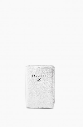 Passport Cover, Silver Metallic